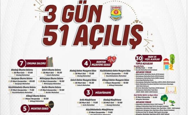 Tarsus Belediyesi 3 Günde 51 Açılış Yapacak
