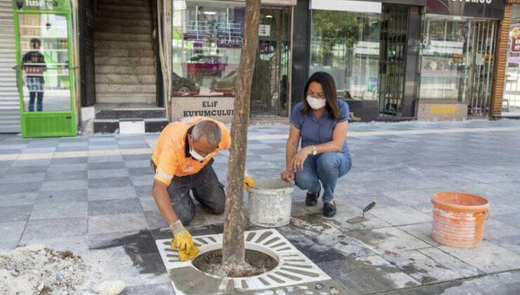 Mersin Büyükşehir Kaldırımları Yenileniyor, Ağaç Diplerine Kompozit Izgaralar Yerleştiriliyor